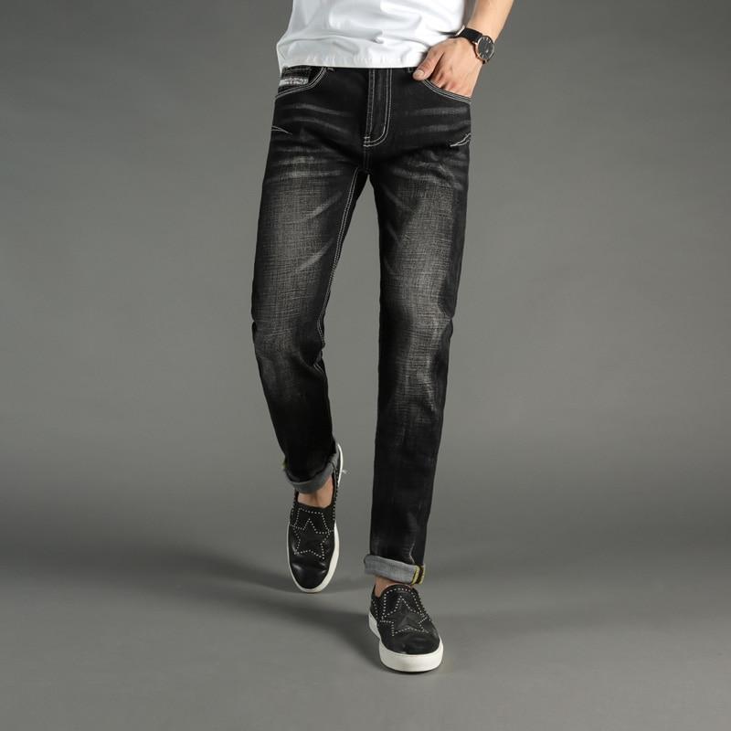DSEL Brand Fashion Mens Jeans Black Color Denim Stripe Jeans Men Casual Pants Elastic Stretch White Wash Skinny Jeans Trousers patch jeans men slim skinny denim blue jeans ripped trousers famous brand dsel jeans elastic pants star mens stretch jeans w701