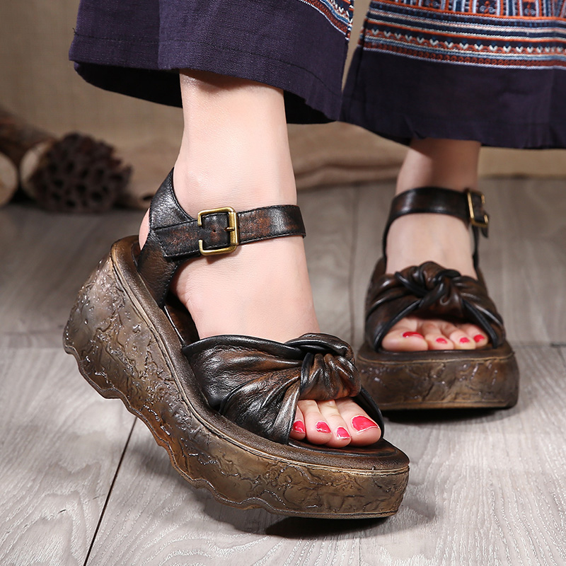 2017 Summer Genuine Leather Women Gladiator Sandals Vintage Style Platform Wedges Cowhide High Heel Handmade Shoes Woman phyanic 2017 gladiator sandals gold silver shoes woman summer platform wedges glitters creepers casual women shoes phy3323