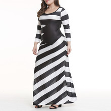 hot cross-border large size new product 2019 long-sleeved black and white striped dress women