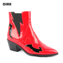 OIAH Cowgirl Women Boots Autumn Winter Ankle Boots Women Shoes Western Slip-on Pointed Toe Casual Shoes Ladies Booties Red PU 2019 fashion cowgirl boots women shoes winter western cowboy ankle boots pointed toe splicing sequined pu leather shoes woman