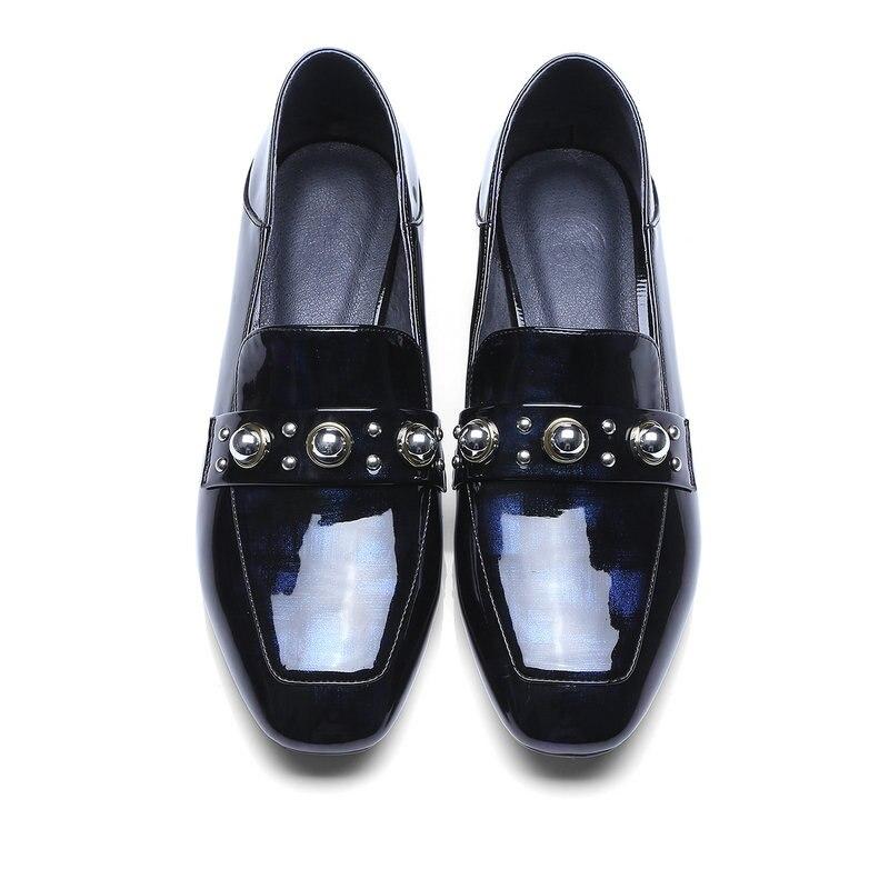 Moda Otoño Gris gris Cuero Azul Nemaone Bombas Mano A Genuino Zapatos Primavera 2019 Nuevo Hecho Mujeres Azul De Y Las aatq8xAHn