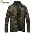 Special Forces Men Camouflage Jackets Epaulet Patch Design Army Style Outerwear Vintage Washed Stand Collar Men Clothing