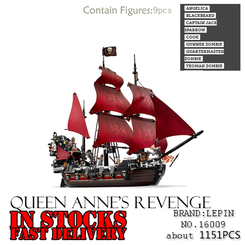 16009 1151pcs LEPIN Pirates series The Queen Anne's Revenge Pirate Ship model Building Blocks Bricks DIY Toys for children gifts lepin 22001 pirates series the imperial war ship model building kits blocks bricks toys gifts for kids 1717pcs compatible 10210