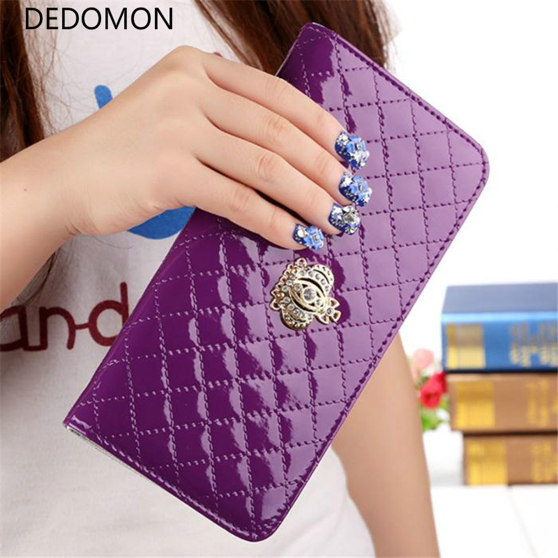 women quilted long wallet crown purse women Wallet With Coin Bag Crown clutch bag carteras female