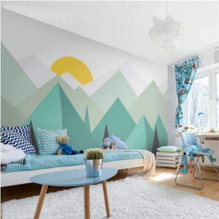 Pure Green Mountain Art Wallpaper Mural On The Wall For Kid's Room Wallpaper Nursery Room Wall