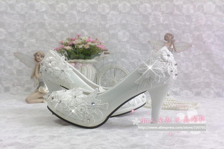 Plus größe 40 41 mode spitze hochzeit schuhe weiß für - Damenschuhe - Foto 6