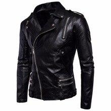 Top Quality Men Black Motocycle font b Leather b font font b Jackets b font Coats