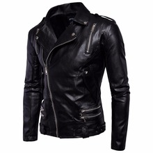 Top Quality Men Black Motocycle Leather Jackets Coats Male Autumn Winter Outwear Classic Cool Biker Leather Jackets New Hot