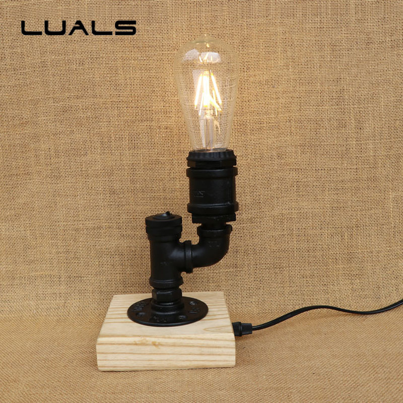 Loft Style Retro Table Lamp Wooden base Desk Light Contain LED Bulbs Cafe Bar Table Lamps Industrial Mesa Art Deco Lighting industrial vintage table lamp simple water pipes desk light cafe bar small table light contain led bulbs mesa loft art lighting