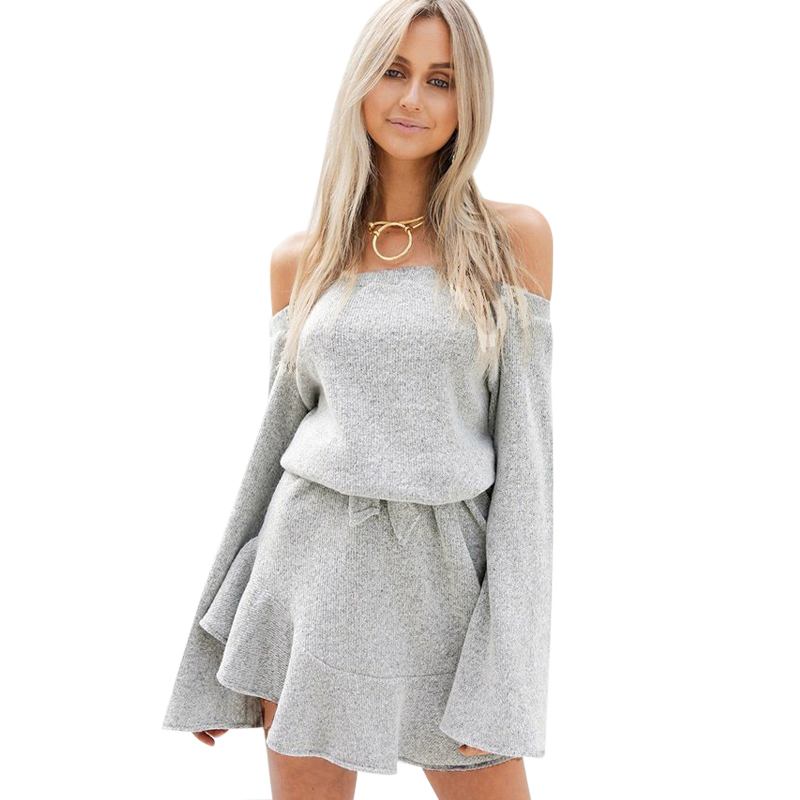 Knitted Sweater Pullovers Autumn Winter Off-Shoulder Femme Women Brand Gray Basic Sexy
