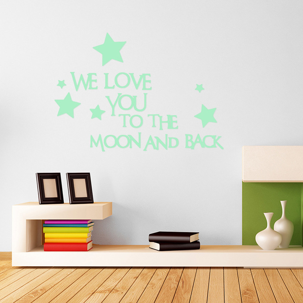 We Love You To The Moon And Back Star Glow in the Dark Kids Room Wall Stickers