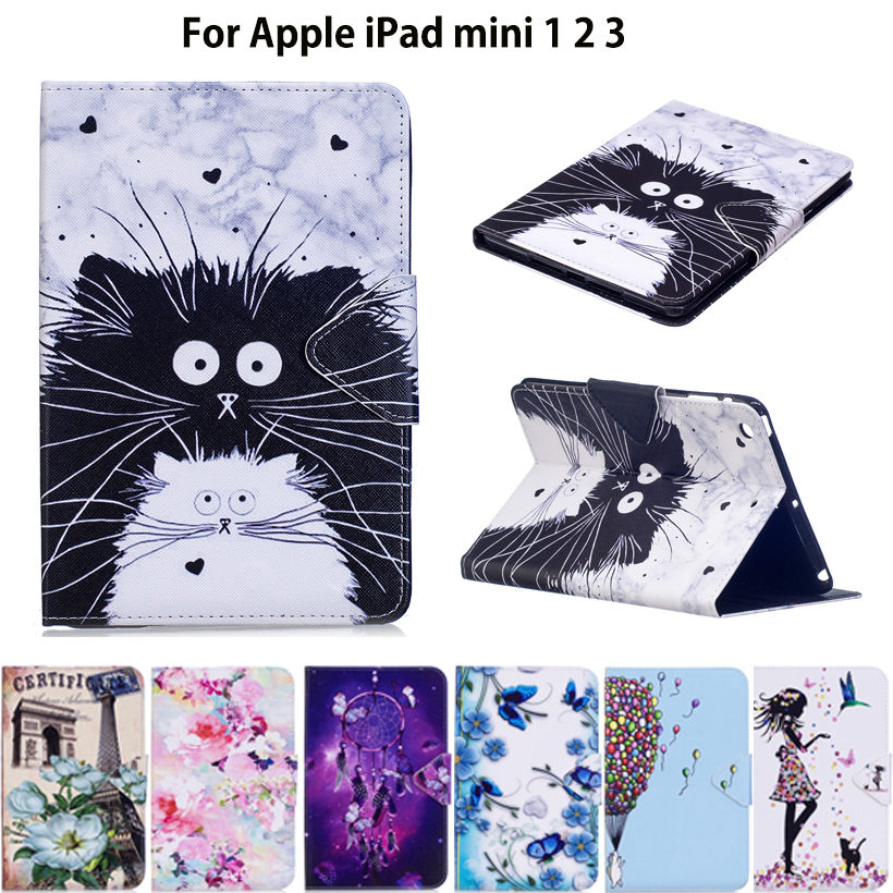 Fashion Painted Tablet Case For Apple iPad Mini 1 2 3 Smart Cover Fashion Girl Cat Flip Stand Silicone PU Leather Skin Funda