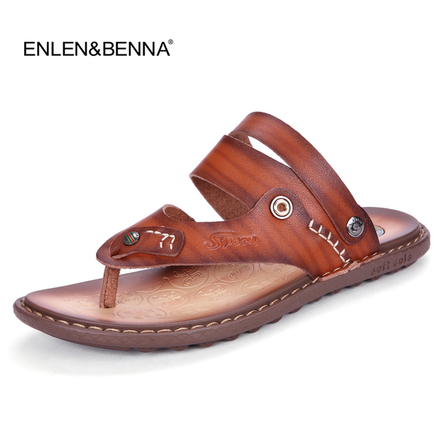 b6ec72555 2018 Summer Leather Sandals Men Casual Shoes Fashion Brand Quality Beach Sandals  Slippers Flip Flops men size 45 sandalias mujer