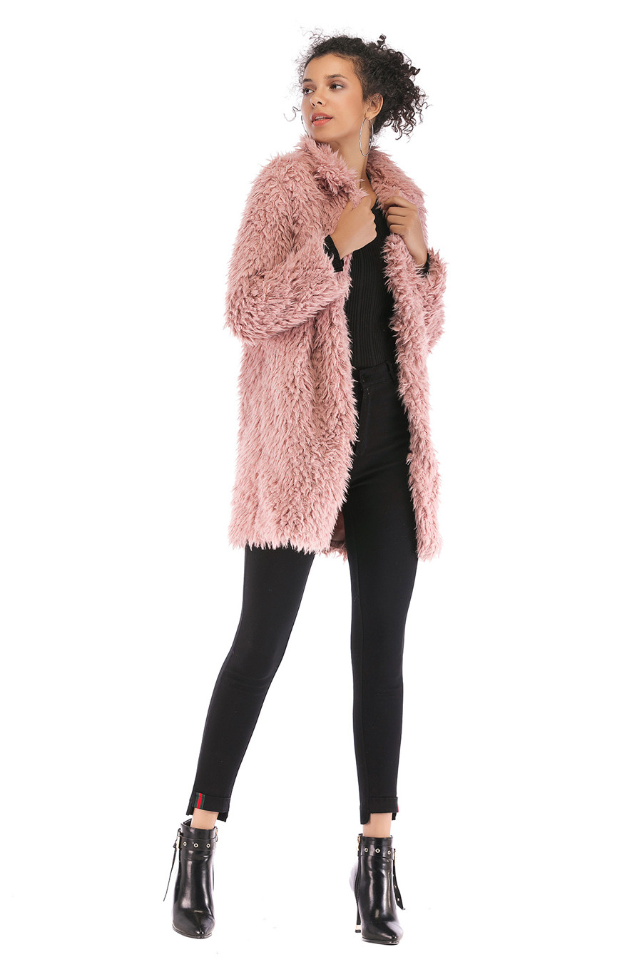 Gladiolus 2018 Women Autumn Winter Coat Turn-Down Collar Long Sleeve Covered Button Long Warm Shaggy Faux Fur Coat Women Jackets (31)