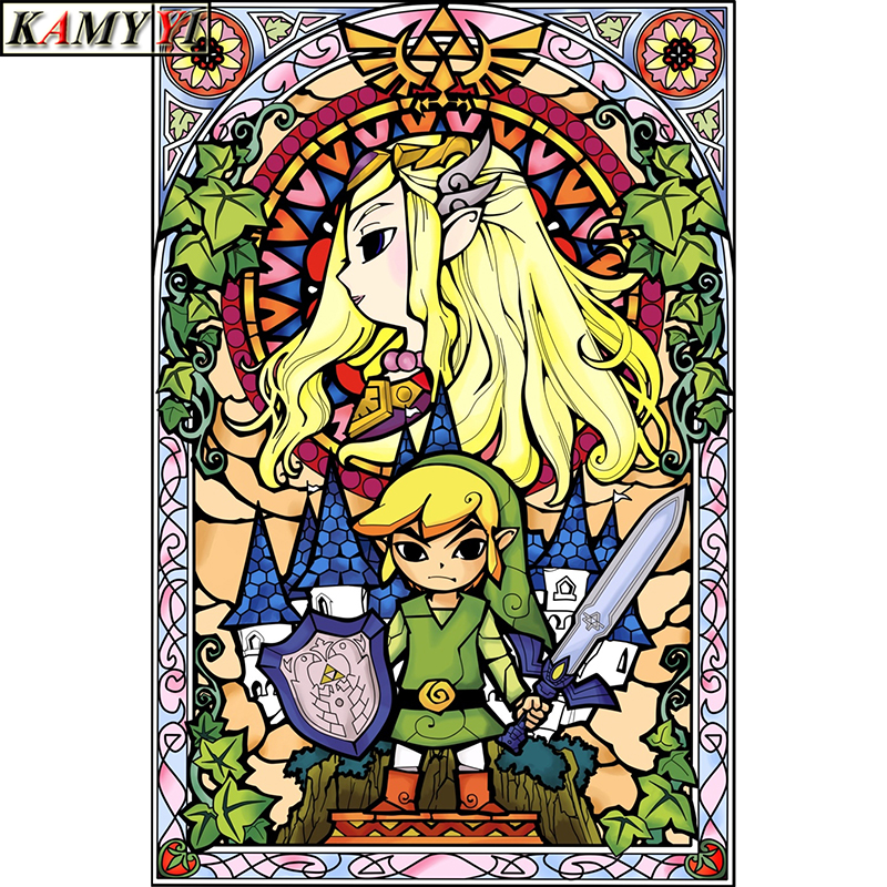 5D DIY Full Square/Round Drill Diamond Painting Cross Stitch Game:The Legend of Zelda Rhinestone Embroidery Home Mosaic Decor image