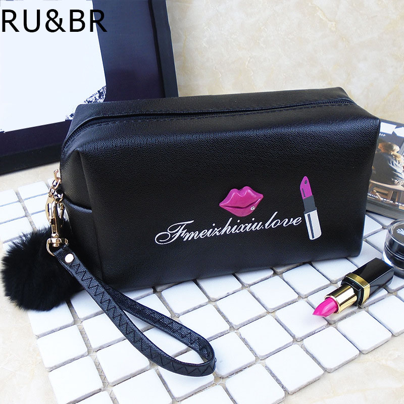 RU&BR Female Makeup Bag Travel Makeup Bags Cosmetic Cases Small High Quality PU Organizer Make Up Bag Ladies Cosmetic Bag fashion cosmetic bags high quality patent leather make up bags ladies cosmetic cases organizer bags cute cosmetic bag