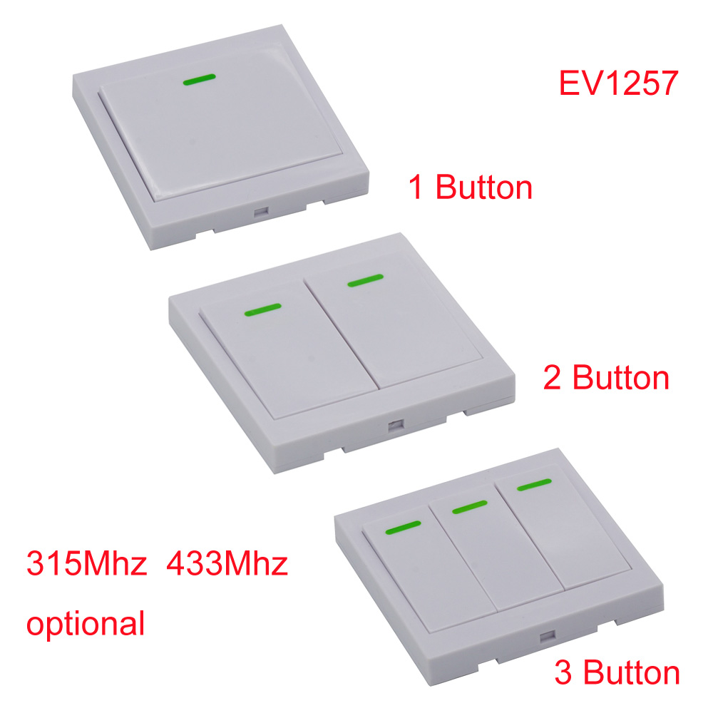 Wall Panel Wireless Remote Transmitter Control 1CH 2CH 3CH Sticky Smart Home for Living Room Bedroom