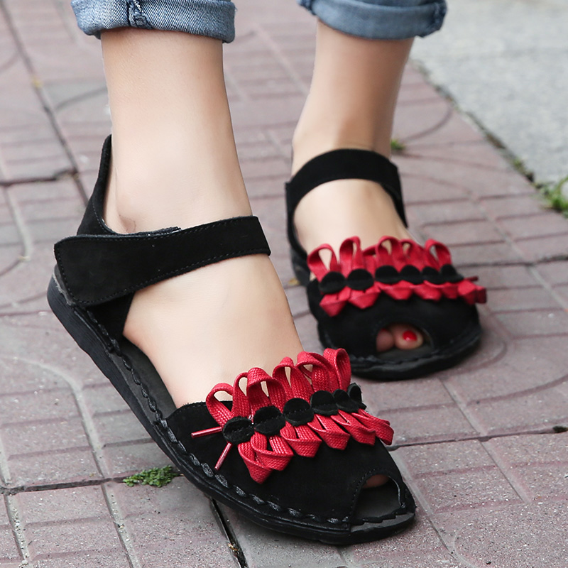 Фотография 2018 Original Spring Summer Shoes Ethnic Hand Woven Ladies Sandal Flat Heel Casual Summer Sandals For Women
