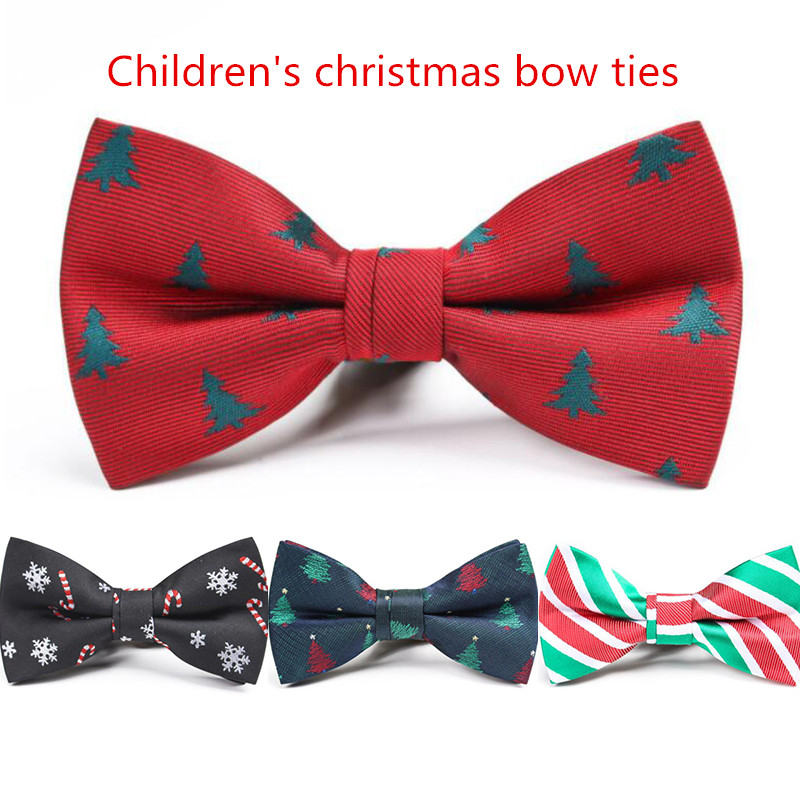RBOCOTT Christmas Bow Tie Children Snowflake Christmas Tree Pattern Red Bowtie For Boys Kids Gifts Bow Ties Size 9cm*4.5cm