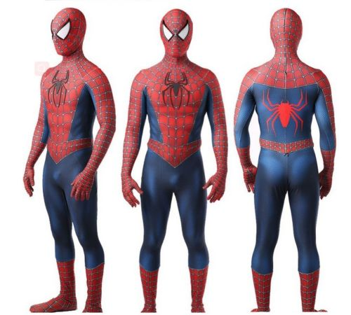Original toby Amazing Spiderman costume Adult 3D spandex Hallween zentai suit Spider-Man