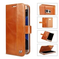 YUANLAM Luxury Genuine Leather Case For Samsung Galaxy S7 S7edge Cell Phone Cover Case With Card