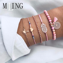 MLING 5 Pcs/Set Summer Woven Bracelet Pineapple Dreamcatcher Heart Tassel Beads For Women Female Party Jewelry