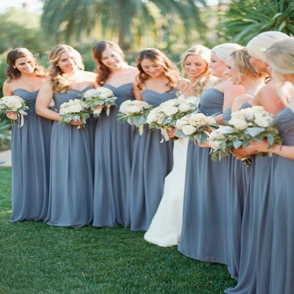 2016 New Slate Blue Chiffon Cheap Bridesmaid Dresses Sexy