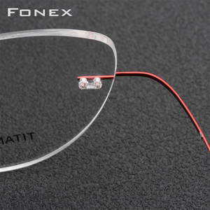 Image 3 - FONEX טיטניום סגסוגת ללא שפה משקפיים מסגרת נשים Ultralight משקפיים מרשם ללא מסגרת חתול עין קוצר ראיה מסגרת אופטית 10001