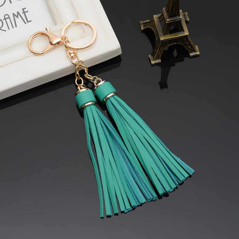 1 pc 13 Colors New Arrive Pu Leather Tassels Key Chain Women Keychain Bag Pendant Cap Car Key Chain