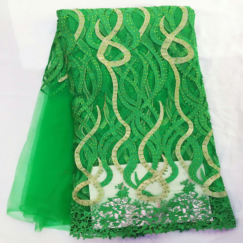 Hot sale green factory price french net lace fabric with rhinestones stones high quality African lace fabric material for sewingHot sale green factory price french net lace fabric with rhinestones stones high quality African lace fabric material for sewing