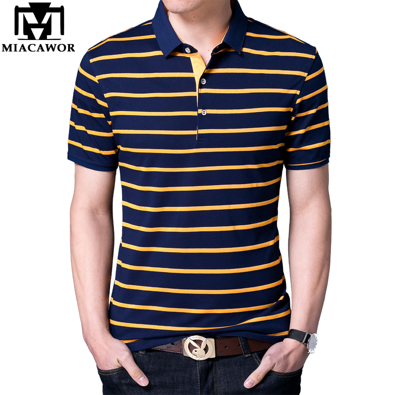 MIACAWOR New Brand   Polo   shirts Men Cotton Fashion Striped Men Summer Short sleeve Tee shirt Homme Casual Homme T717