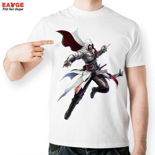 7b4607f5d Creative White Printed T-shirt Cool Fashion Popular Game Assassins Creed  Tshirt Brand Men Summer Style Starwars T Shirt