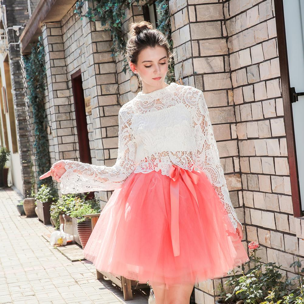Skirts Womens 7 Layers Midi Tulle Skirt Fashion Tutu Skirts Women Ball Gown Party Petticoat 2018 Lolita Faldas Saia(China)