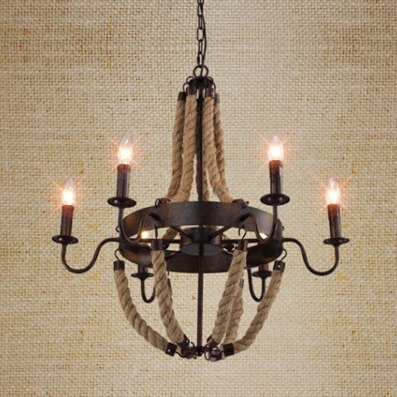 Loft Style Industrial Retro Classic Restaurant Hemp Rope Pendant Light Living Room Lamp Coffee Shop Decoration Lamp FreeShipping