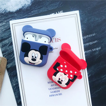 Silicone case for Apple Airpods cute case protective cover Bluetooth Earphone case for airpods 2 bag Charging Box Mickey Minnie boys contrast pocket jeans