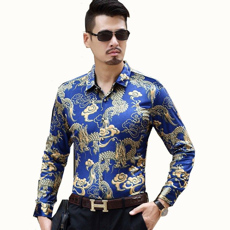 Chemise à manches longues pour hommes nouveau printemps chemise à manches longues imprimé Style chinois pour hommes chemise d'affaires en velours doré pour hommes