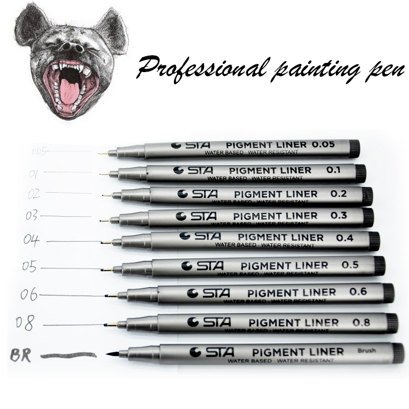 Waterproof Art Sketch Comics Art Marker Pen Pigment Liner Water Based For Drawing Handwriting School Office Stationery Ink Black