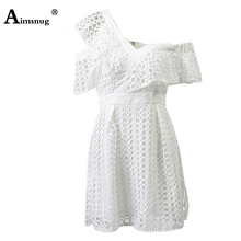 Womens Lace Sexy Dress Hollow Out Mini Vestidos Ladies Party Elegant Dress Robe Femme Summer Off Shoulder Tunic For Women Pareo
