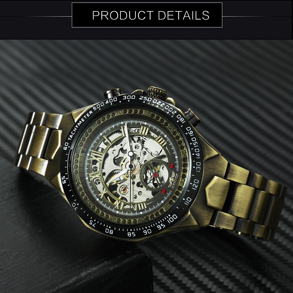 WINNER Vintage Fashion Men Mechanical Watches Metal Strap Top Brand Luxury Best Selling Vintage Retro Design Wristwatches +BOX 12