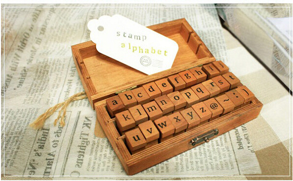 Free shipping wholesale NEW (50pcs/box) Creative Lowercase & Uppercase Alphabet wood rubber stamps set Wooden box wholesale hot sale 30pcs set letter wood stamp alphabet stamps wooden box personalized motto handmade hobby sets free shipping
