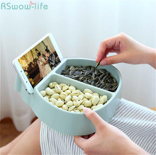 Creative Multi-Functional Snack Dried Fruit Tray Mobile Phone Bracket Dessert  Plates Solid Storage Plastic PP Convenient