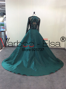 Image 3 - VARBOO_ELSA Robe De Soiree Longue 2019 Detachable Skirt green Evening Dresses Long sleeves Sequin Applique Arabic Evening Gown