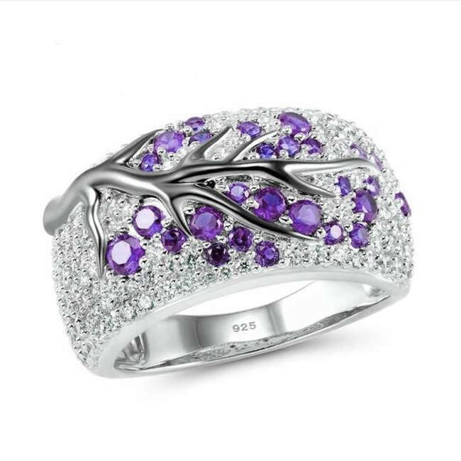 โรแมนติกเงินแหวนสร้าง Hiny ต้นไม้สีชมพู CZ แหวน 925 เงินสเตอร์ลิงแฟชั่น Chic เครื่องประดับของขวัญ