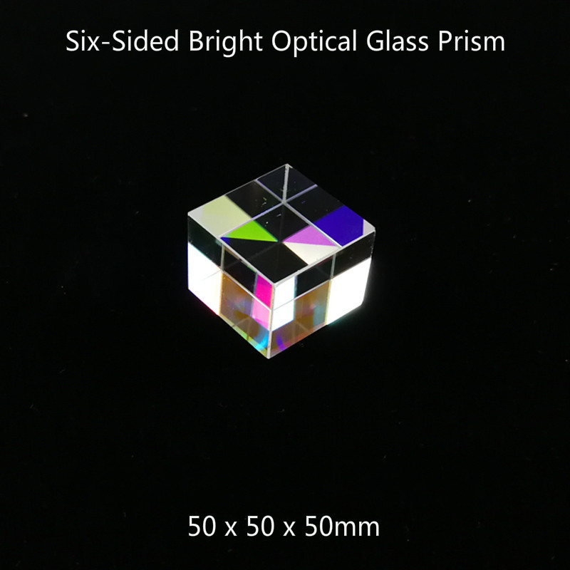 50*50*50 Prism Six-Sided Bright Light Colorful Combiner Splitter Cross Dichroic Cube RGB Prism Projector Accessories50*50*50 Prism Six-Sided Bright Light Colorful Combiner Splitter Cross Dichroic Cube RGB Prism Projector Accessories
