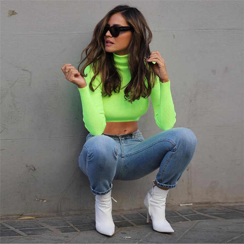2a46eed0803 ... Cryptographic long sleeve fashion turtleneck neon green solid casual  t-shirts autumn winter knitted sexy ...