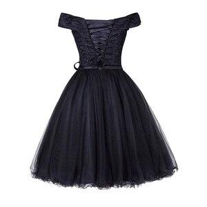 Image 2 - Dressv al largo della spalla vestito da cocktail nero senza maniche di lunghezza del ginocchio una linea lace up homecoming abiti corti da cocktail