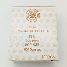 100 pcs Ear Acupunctue pressing seed Magnetic pellet, Gold plated, 800 Gausses  1 package