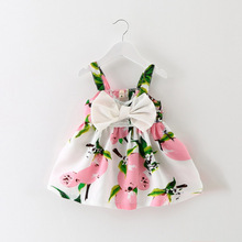 2018 Letnia sukienka Baby Girl Lemon Print noworodka sukienki na chrzciny Suknie księżniczka sukienka urodzinowa dla dziewczynki tanie tanio Dziecko Baby Girls Powyżej kolana mini Czeski Print Baby Girls Załoga szyi Łuk Bawełna Jersey Bez rękawów MDY8028