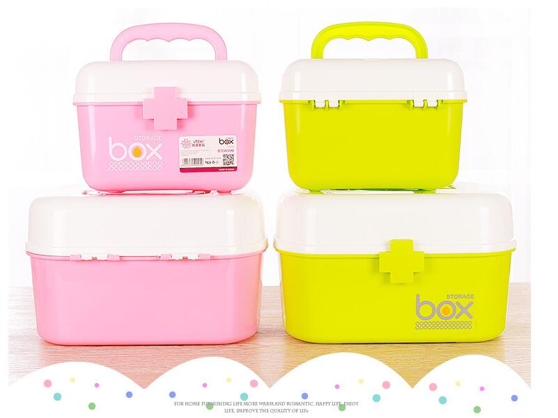 Home Japanese household medicine kit first aid kit medicine box family double-layer portable medicine storage box medical box laoa colorful folded tool box work box foldable toolbox medicine cabinet manicure kit workbin for storage
