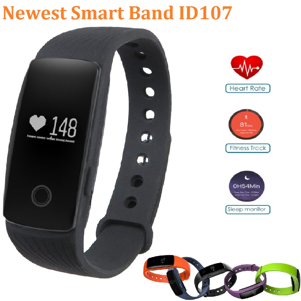 ID107 Bluetooth 4 0 Smart Bracelet Wristband band Heart Rate Monitor 107 Fitbit Fitness Tracker for